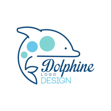Dolphine logo design, abstract emblem with dolphin vector Illustration on a white background