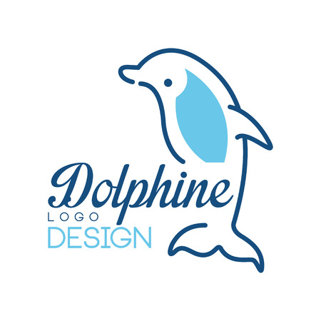 Dolphine logo design, nautical symbol in blue colors vector Illustrations on a white background