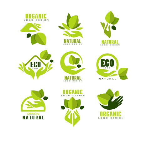 Eco, organische, natuurlijke logo ontwerpset, premium kwaliteit productlabel, embleem voor café, verpakking, restaurant, boerderijproducten vectorillustraties op een witte achtergrond Logo