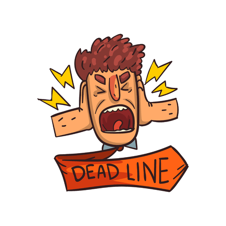 Frustrated man screaming, Deadline word, time limit, stress and burnout sign vector Illustration on a white background