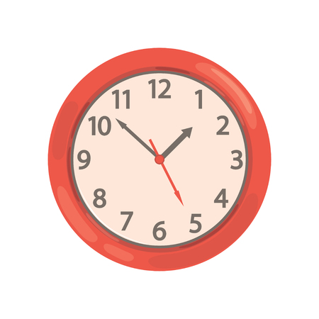 Red round wall clock vector Illustration on a white background  イラスト・ベクター素材