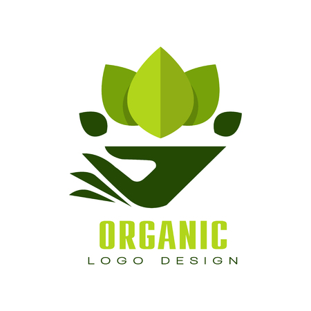 Organic logo design, healthy premium quality food label, emblem for cafe, packaging, restaurant, farm vector Illustration isolated on a white background.