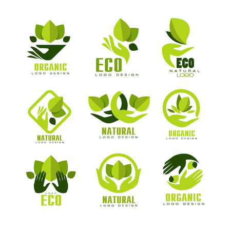 Eco, organic logo design set, premium quality natural product label , emblem for cafe, packaging, restaurant, farm products vector Illustrations isolated on a white background. Illustration