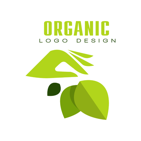 Organic logo design, healthy premium quality label with green leaves and human hands, emblem for cafe, packaging, restaurant, farm products vector Illustration isolated on a white background. Illustration