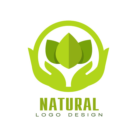 Natural logo design, healthy organic food label with green leaves and human hands, emblem for cafe, packaging, restaurant, farm products vector Illustration isolated on a white background.