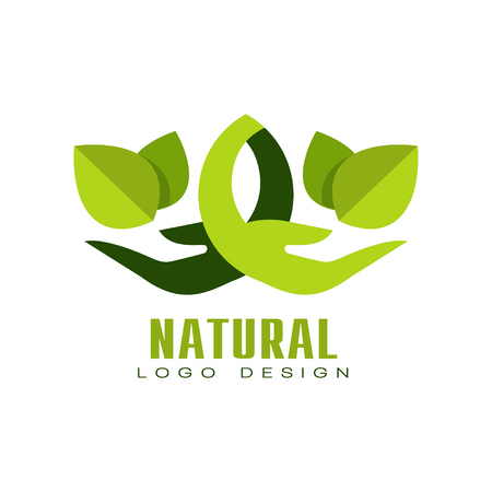 Natural logo design, healthy organic food label, emblem for cafe, packaging, restaurant, farm vector Illustration isolated on a white background.