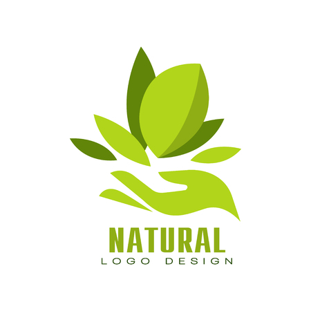 Natural logo design, healthy premium quality label with green leaves and human hand, emblem for cafe, packaging, restaurant, farm products vector Illustration isolated on a white background.