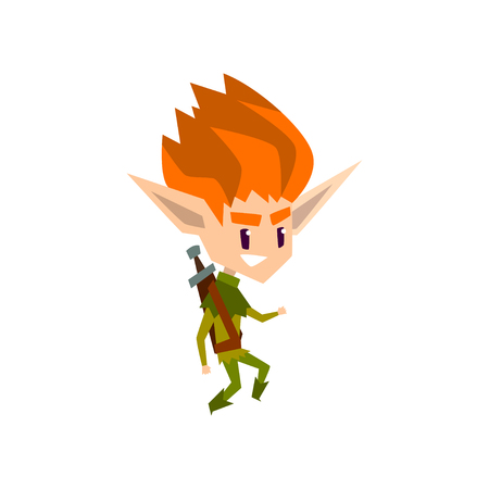 Redhead forest elf boy, cute fairytale magic character vector Illustration isolated on a white background.