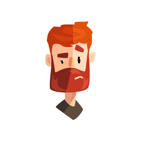 Doubting redhead bearded man, male emotional face, avatar with facial expression vector Illustration isolated on a white background.