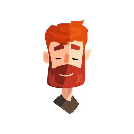 Friendly redhead bearded man, male emotional face, avatar with facial expression vector Illustration on a white background
