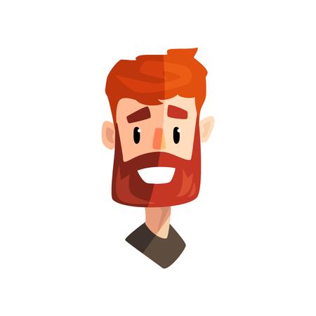 웃는 빨간 머리 수염 남자, 남성 감정적 인 얼굴, 표정 벡터 일러스트와 함께 아바타 흰색 배경에 고립. 스톡 콘텐츠 - 99720984