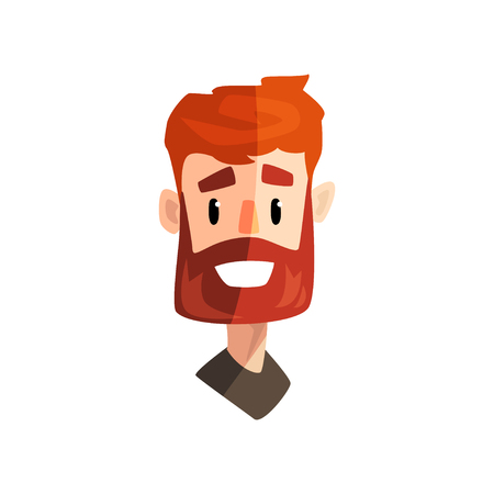 Smiling redhead bearded man, male emotional face, avatar with facial expression vector Illustration isolated on a white background.