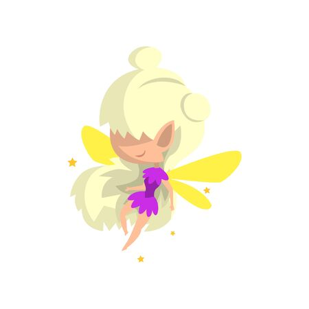 Little winged blonde elf girl, cute fairytale character vector Illustration isolated on a white background.