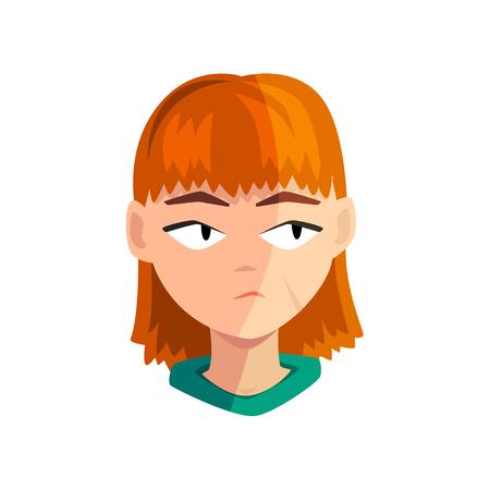 Chica pelirroja aburrida, rostro emocional femenino, avatar con ilustración de vector de expresión facial aislado en un fondo blanco.