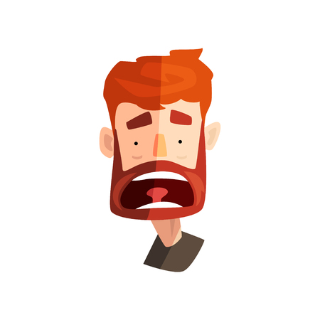 Frightened redhead bearded man, male emotional face, avatar with facial expression vector Illustration on a white background Ilustrace