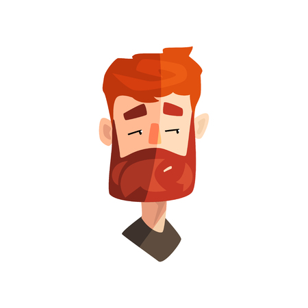 Skeptical redhead bearded man, male emotional face, avatar with facial expression vector Illustration on a white background Illustration