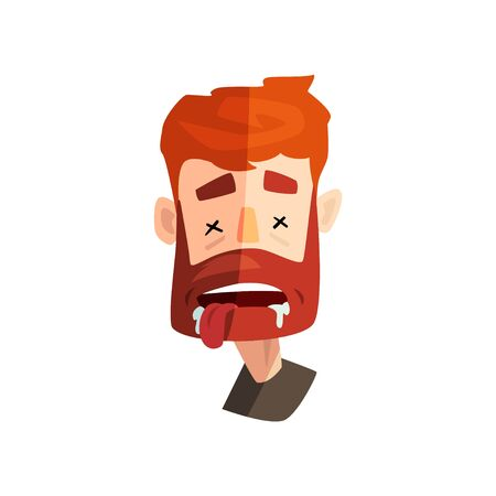Dead redhead bearded man, male emotional face, avatar with facial expression vector Illustration on a white background  イラスト・ベクター素材