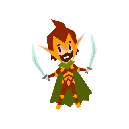 Forest elf warrior in green clothes with swords, cute fairytale magic character vector Illustration isolated on a white background.