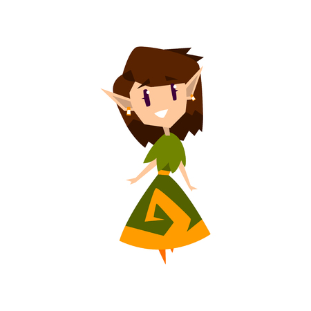 Forest elf girl in green dress, cute fairytale magic character vector Illustration isolated on a white background.