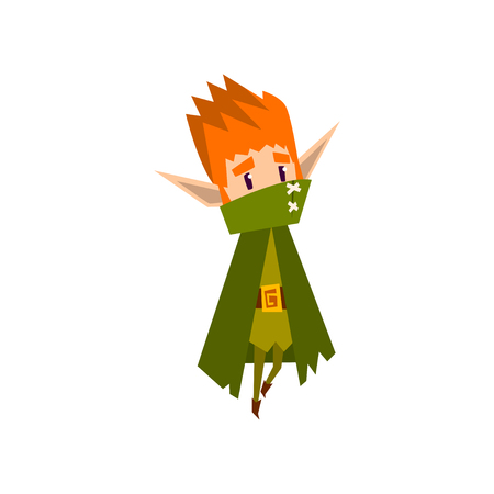 Forest elf boy in green cape, cute fairytale magic character vector Illustration isolated on a white background.