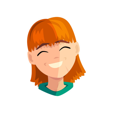 Laughing redhead girl, female emotional face, avatar with facial expression vector Illustration on a white background