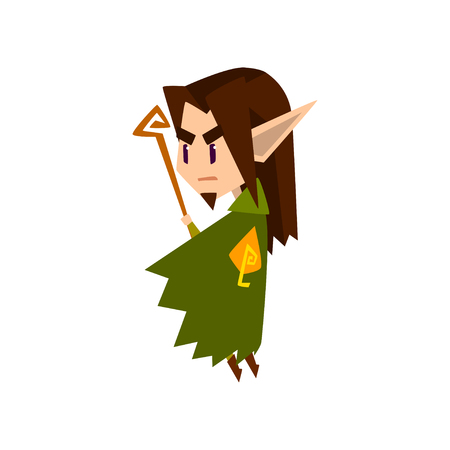 Forest elf boy in green clothes with wooden staff, cute fairytale magic character vector Illustration isolated on a white background.
