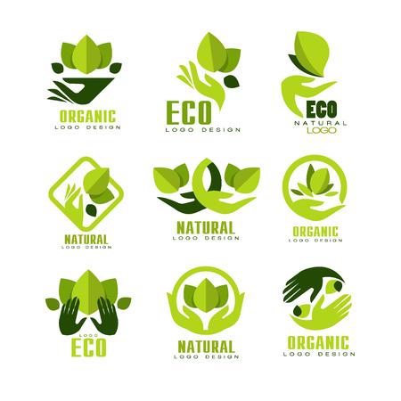 Eco, conjunto de diseño de logotipo orgánico, etiqueta de producto natural de primera calidad, emblema para cafetería, embalaje, restaurante, productos agrícolas vector ilustraciones sobre un fondo blanco