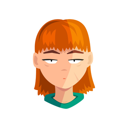 Unhappy redhead girl, female emotional face, avatar with facial expression vector Illustration isolated on a white background. Illustration
