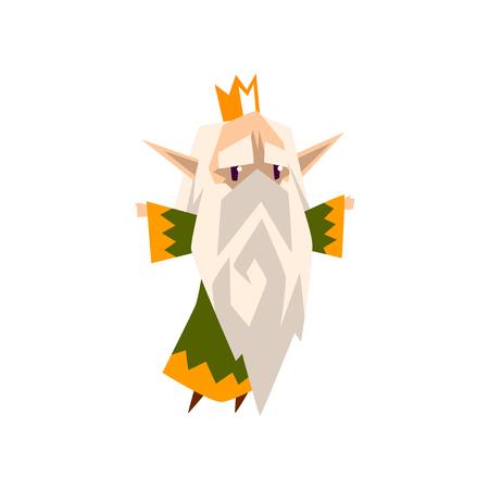 El pelo gris rey de los elfos del bosque en ropa verde, lindo personaje de cuento de hadas mágico vector ilustración aislada sobre fondo blanco. Foto de archivo - 99729379
