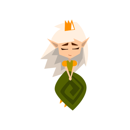 Princess of the forest Elves with white hair and green dress, cute fairytale magic character vector Illustration on a white background Иллюстрация