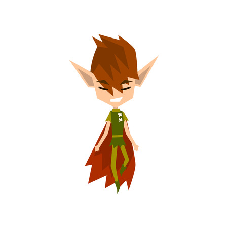 Forest elf boy, cute fairytale magic character vector Illustration on a white background
