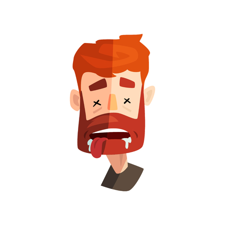 Dead redhead bearded man, male emotional face, avatar with facial expression vector Illustration isolated on a white background.