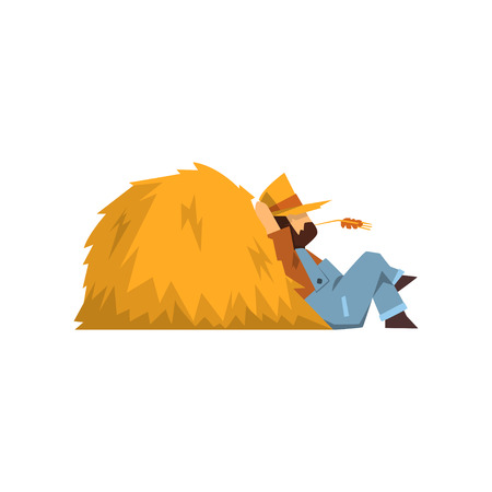 Tired farmer resting sitting by the haystack vector Illustration isolated on a white background. Иллюстрация