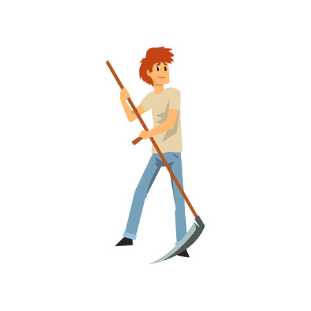 Male farmer mowing grass with scythe, farm worker with gardening equipment vector Illustration isolated on a white background.