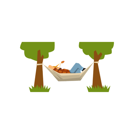 Male farmer lying in a hammock, hammock hanging between green trees vector Illustration isolated on a white background.