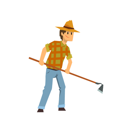 Male farmer working with hoe, farm worker with gardening tool vector Illustration isolated on a white background. Illustration