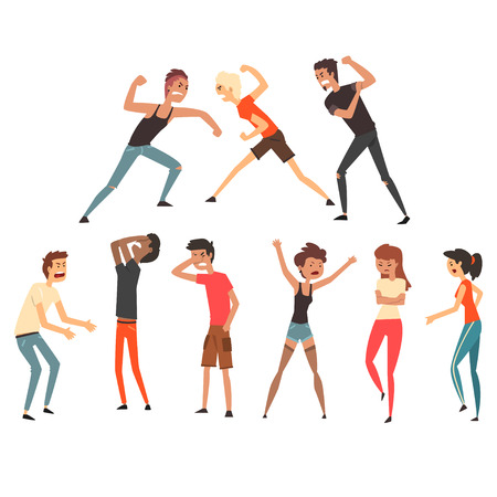 People fighting and quarreling. Aggressive and violent behavior. Negative emotions. Young guys and girls. Flat vector design Illustration