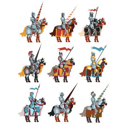 Flat vector set of medieval knights on horseback with flags and spears. Cartoon royal warriors in steel shiny armors.