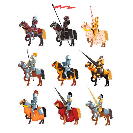 Conjunto de vector plano de caballeros reales en armaduras brillantes de acero. Guerreros de dibujos animados a caballo con arma y bandera en las manos.