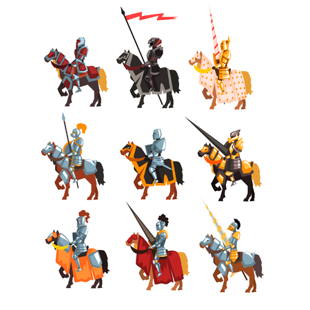 Flat vector set of royal knights in steel shiny armors. Cartoon warriors on horseback with weapon and flag in hands.