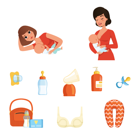 Two young moms and items related to breastfeeding theme. Women feeding their newborn babies. Mother and child. Flat vector icons Stock Illustratie