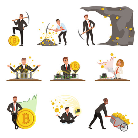 Set of business people extracting cryptocurrency, golden bitcoins. Mining farm. Virtual money and finance theme. Miner of GPU. Flat vector design
