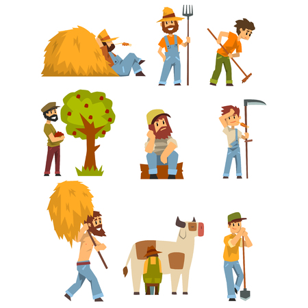 Agriculteurs au travail, ouvrier agricole avec matériel de jardinage vector Illustrations sur fond blanc Vecteurs