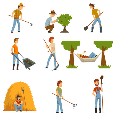Farmers set, farm workers with gardening tools, gardeners at work vector Illustrations on a white background