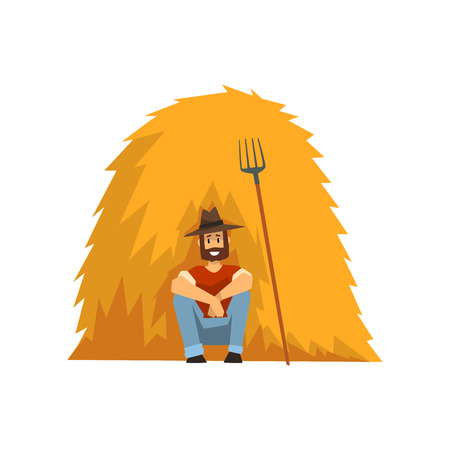 Farmer resting sitting by the haystack vector Illustration on a white background