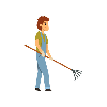 Male farmer with pick fan scraper, farm worker with gardening tool vector Illustration on a white background