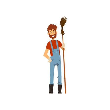 Male farmer with broom, farm worker with gardening tool vector Illustration on a white background Illustration