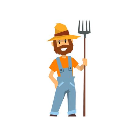 Hombre agricultor con pitchfork, trabajador agrícola con herramienta de jardinería vector ilustración sobre un fondo blanco. Foto de archivo - 99818626