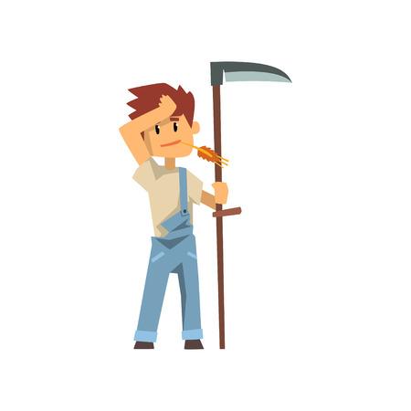 Male farmer scythe for grass, farm worker with gardening equipment vector Illustration on a white background