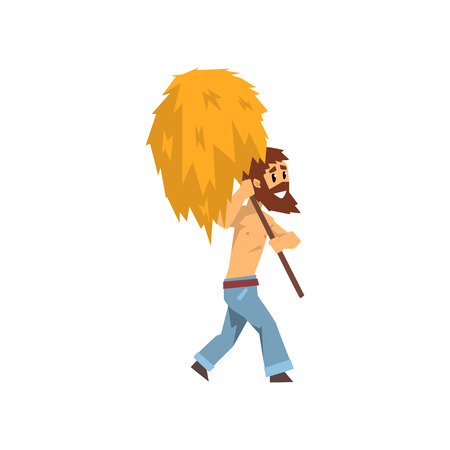 Farmer carrying hay with pitchfork, farm worker at work vector Illustration on a white background Vectores